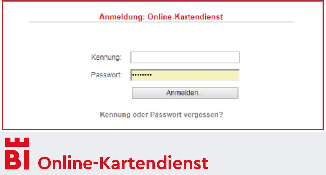Anmeldung Online-Kartendienst